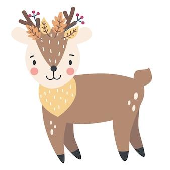 Śliczny jeleń na jesienną ilustrację dziecka