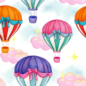 Śliczny kolorowy akwarela lotniczego balonu bezszwowy wzór