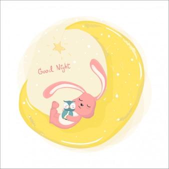 Śliczny królik śpi na cresent księżyca z śliczną sową