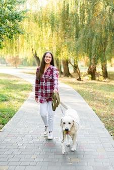 Śliczny labrador iść na spacer