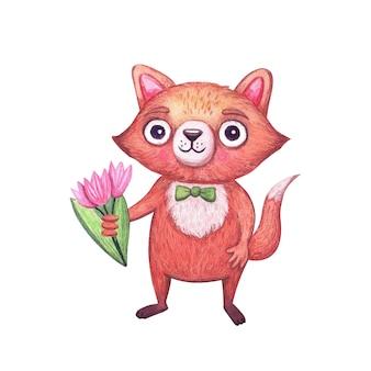 Śliczny lis akwarelowy z bukietem kwiatów na wakacje zabawna postać leśnych zwierząt