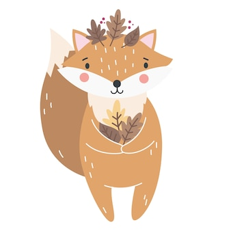 Śliczny lis na jesienną ilustrację dziecka