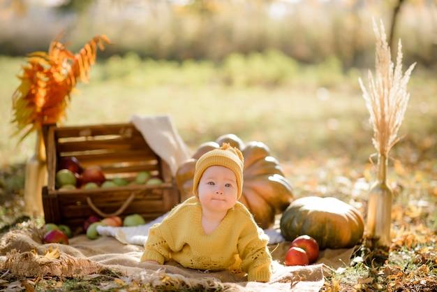 Śliczny małej dziewczynki obsiadanie na bani i bawić się w jesień lesie