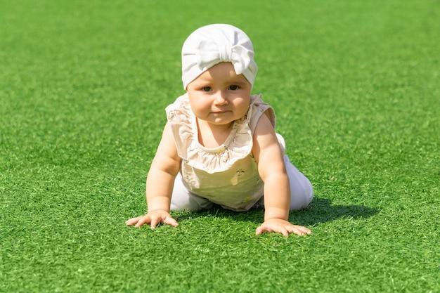 Śliczny maluch raczkuje na zielonym trawniku
