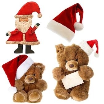 Śliczny miś vintage z santa hat. zestaw z dekoracjami świątecznymi