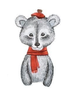 Śliczny miś z kreskówek w czerwonym szaliku i czapce