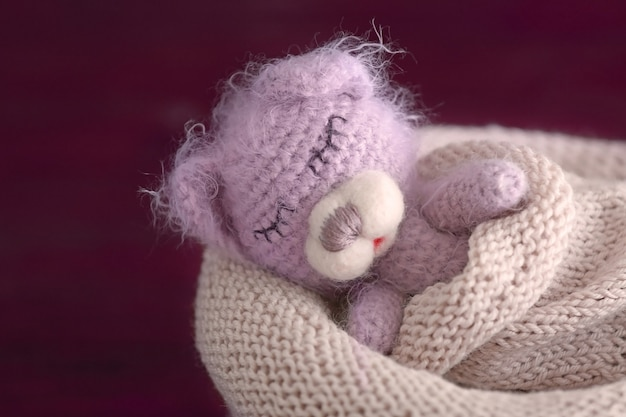 Śliczny ręcznie robiony miś zabawka śpiący w torbie z dzianiny na niewyraźne