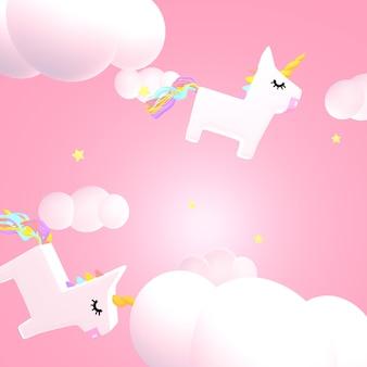Śliczny różowy jednorożec niebo 3d renderowany obraz
