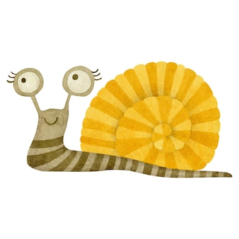 Śliczny ślimak akwarela na białym tle