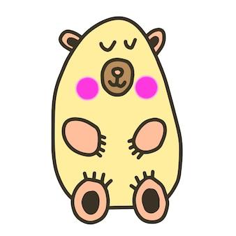 Śliczny słodki miś rysowany ręcznie, komiksowa postać