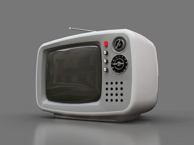 Śliczny stary biały tv z anteną na szarym tle