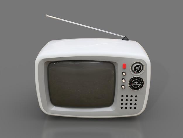 Śliczny stary biały tv z anteną