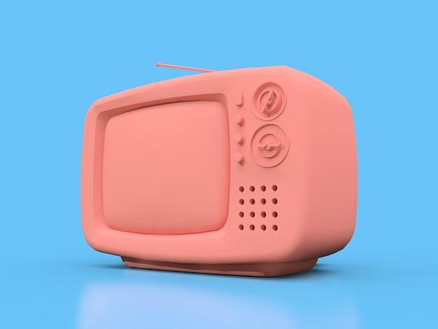 Śliczny stary różowy tv z anteną