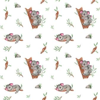 Śliczny wzór koali, wzór australijskich zwierząt, powtarzalny, tapeta przedszkola