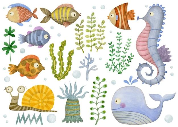 Śliczny zestaw kreskówek podwodne oceaniczne zwierzęta morskie krab ośmiornicy ryba kałamarnica rozgwiazda