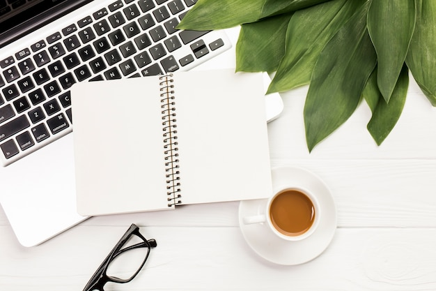 Ślimakowaty notepad i liście na laptopie z eyeglasses i filiżanką na drewnianym biurowym biurku