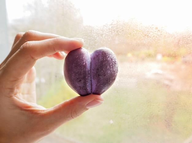 Śliwka w formie serca. owoc miłości.