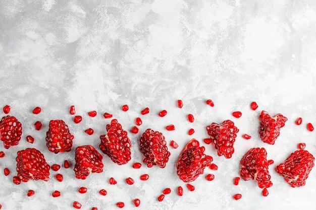 Słodcy granatowów ziarna, selekcyjna ostrość