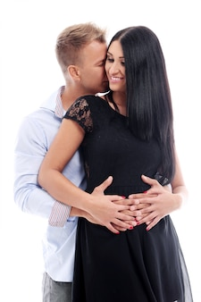 Słodka i seksowna para ma sesję zdjęciową w studiu