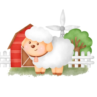 Słodka kreskówka owca na farmie