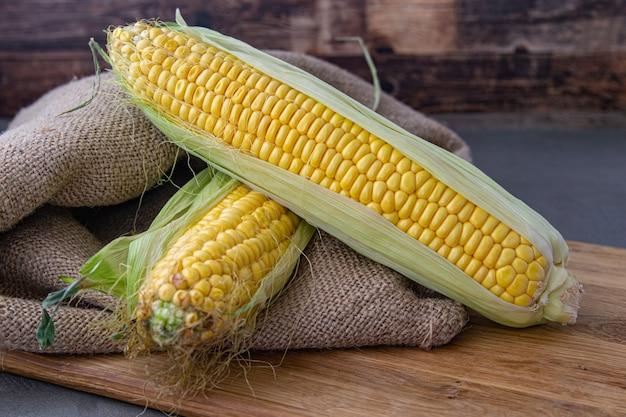 Słodka kukurydza ekologiczna, świeża kukurydza zebrana w drewnianych skrzyniach. zbiór kukurydzy, produkcja kukurydzy, rolnictwo ekologiczne, produkcja żywności i uprawa warzyw.