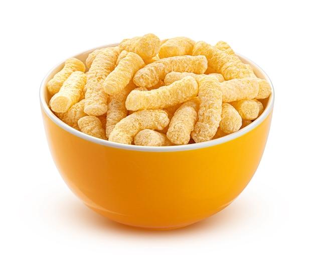 Słodka kukurydza paluszki w żółtej misce