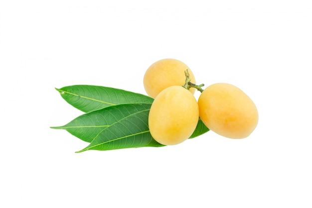 Słodka mariańska śliwkowa tajlandzka owoc odizolowywająca na białym tle