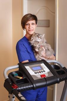 Słodki kot u weterynarza ze szczęśliwym lekarzem