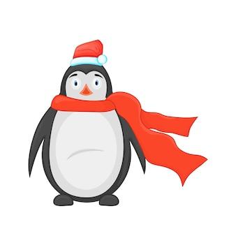 Słodki pingwin świąteczny.