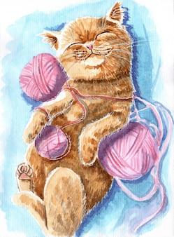 Słodki rudy kociak rudy kot śpi na grzbiecie na niebieskim kocu z kłębkami nitki