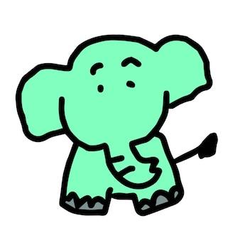 Słodki rysunek ręka słonia, komiksowa postać
