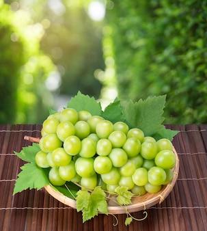 Słodki zielony winogron w bambusowym koszu na drewnianym stole w ogrodzie, shine muscat grape z liśćmi w rozmycie tła.