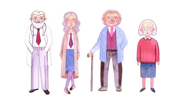 Słodkie akwarela babcia i dziadek. stylizowana ilustracja. babcia w okularach i dziadek z laską