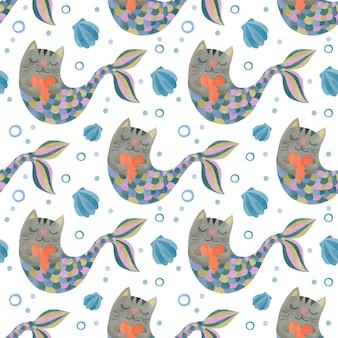 Słodkie akwarela bezszwowe wzór koty syreny