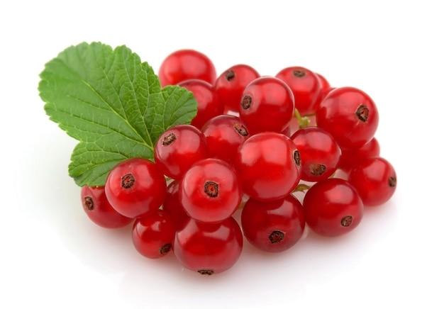 Słodkie czerwone porzeczki z liśćmi z bliska