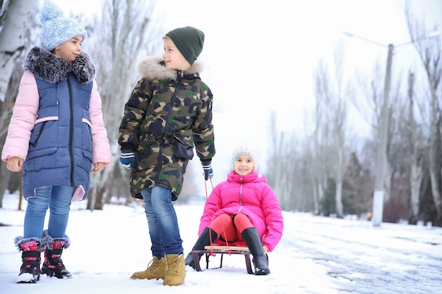 Słodkie dzieci na sankach w zaśnieżonym parku na ferie zimowe