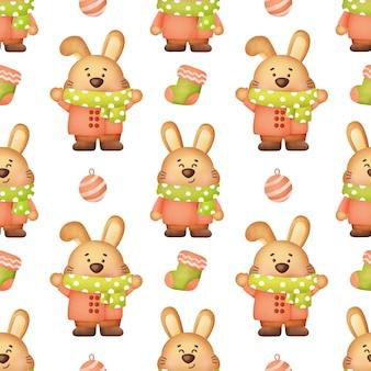 Słodkie króliki boże narodzenie bez szwu wzorów.
