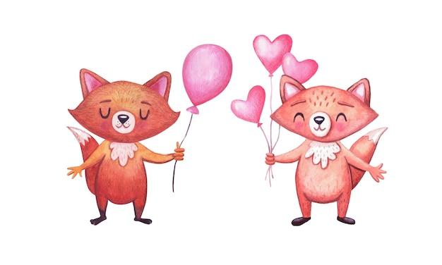 Słodkie lisy akwarela na przyjęcie urodzinowe z balonem. zestaw znaków. zwierzęta na uroczystości.