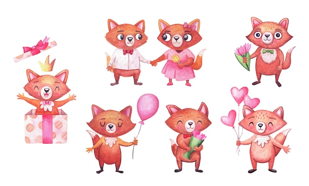Słodkie lisy akwarela na przyjęcie urodzinowe. zestaw znaków na białym tle. zwierzęta na uroczystości.