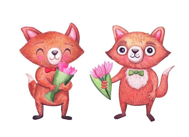 Słodkie lisy akwarela z bukietami kwiatów na wakacje. zabawny charakter zwierząt leśnych