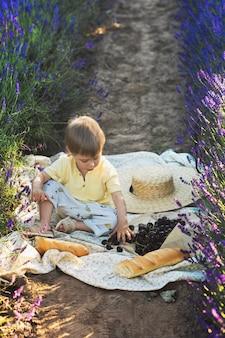 Słodkie małe dziecko siedzi na kocu z jedzeniem na piknik na lawendowym polu