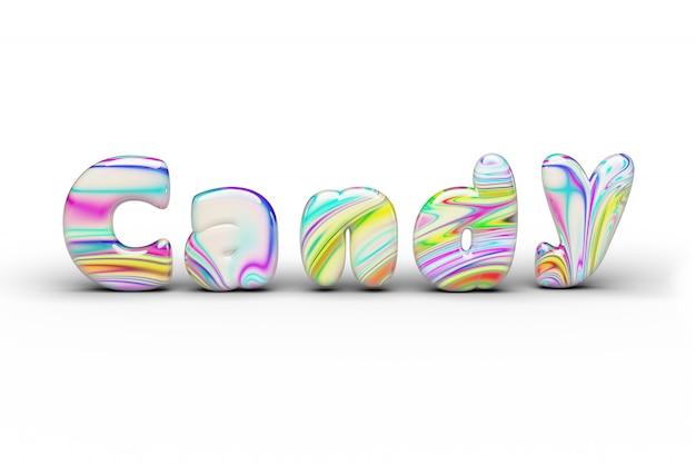 Słodycze candy wielokolorowe candy słowo na białym na białym tle