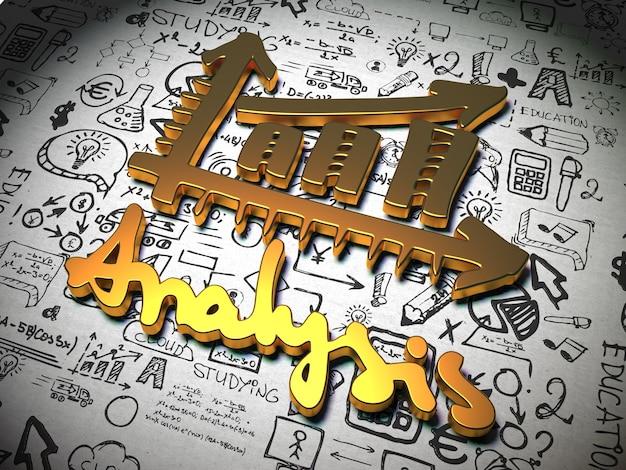 Slogan analizy wykonany z metalu na tle z odręcznymi znakami