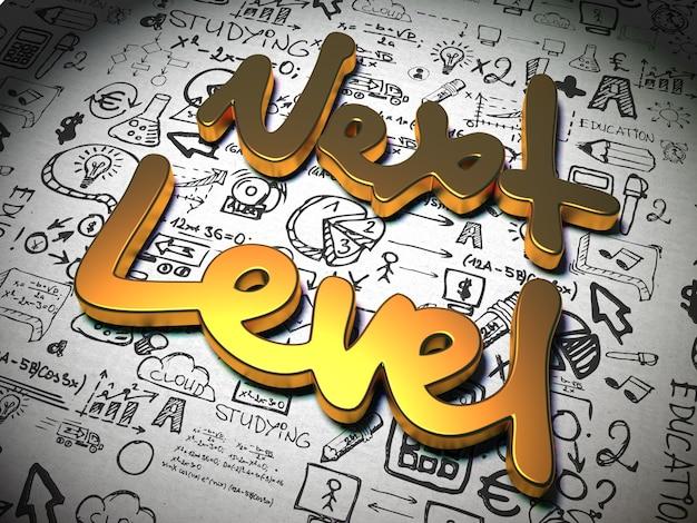 Slogan następnego poziomu wykonany z metalu na tle z odręcznymi znakami