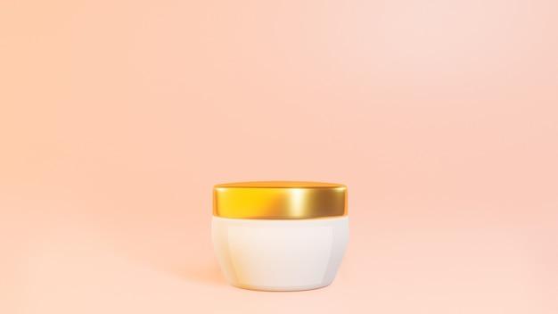 Słoiczki kosmetyczne ze złotymi wstawkami na pastelowym różowym tle, baner, makieta. wysokiej jakości zdjęcie