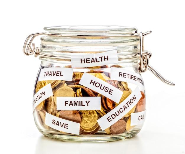 Słoik szklany z monetami