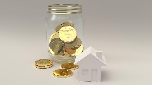 Słoik ze złotą monetą i domem