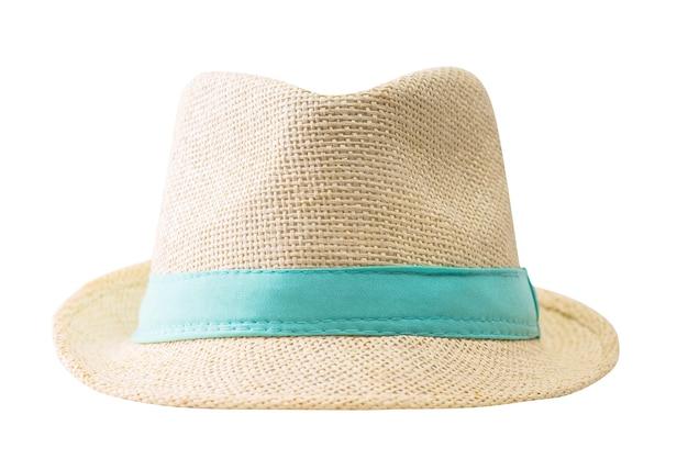 Słomkowy kapelusz na białym tle
