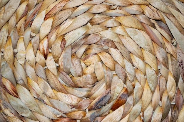 Słomy tkane okrągłe ręcznie wykonane tekstury tła