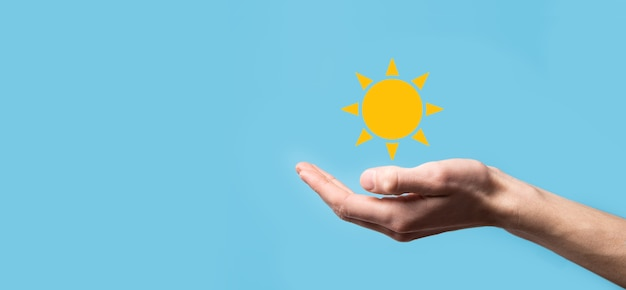 Słońce ikona symbol. sustainab podejście przyjazne dla środowiska.